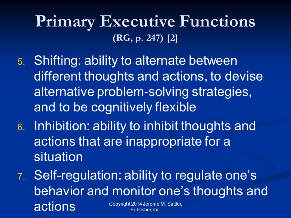 Primary Executive Functions (RG, p. 247) [2]